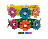 Leather Flowers Small Dog and Cat Collars with Swarovski Crystal Rhinestone Bling, Unique, Floral, Fancy $32.00