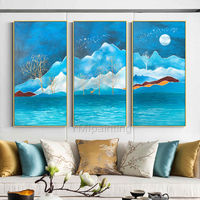 3 pieces Wall Art mountains Peaks Modern Abstract landscape moon Paintings on canvas Blue Original wall Picture large art cuadros abstractos $192.00