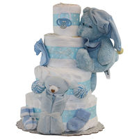 """Sweet Dreams Boy Diapercake  Ultra-soft plush Puppy   Baby pacifier  Super soft baby blanket  Soft baby socks  Soft babycloths  70-74 premium Pampers Swaddlers, size 1 (up to 14lbs.)  Approx. dimensions:12""""W x 18""""H  Ribbon may b..."""