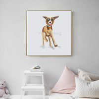 Puppy painting framed wall art Pet Portrait Dog Acrylic paintings On Canvas Original art large Wall art Pop Art animal art palette knife $89.00
