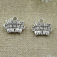 Pack of 50 Silver Colour WORLD'S GREATEST MOM Charms. 14mm x 12mm Pendants £5.99