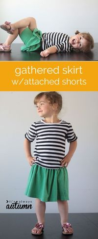 Learn how to sew an easy gathered skirt with attached knit shorts from a thrifted tee! Step by step photos included.
