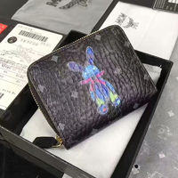 MCM Rabbit Visetos Short Wallet In Black