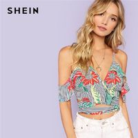 SHEIN Multicolor Sexy Vacation Boho Bohemian Beach Floral And Striped Cold Shoulder Knot Blouse Summer Women Casual Shirt Top $18.00