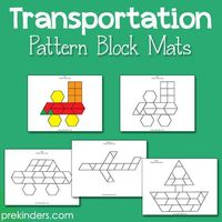 These new pattern block mats include an airplane, train, car, boat, and space shuttle to go with your Transportation theme. Children use these mats with standar