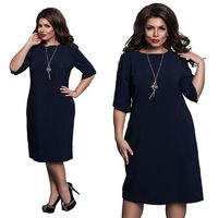 L-6XL Spring O-Neck Dress Blue Red Green Straight Dresses $24.95