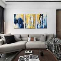 Framed painting set of 3 wall art Gold Navy Blue White Large Wall Art Painting on Canvas waterfall 3 piece wall art picture Modern Abstract $198.00