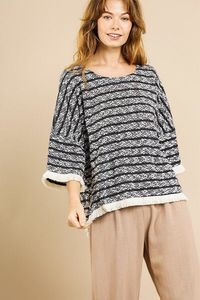 Heathered Striped Knit Bell Sleeve Round Neck Top $39.52
