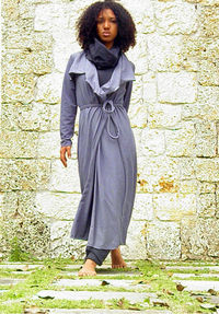The Shanti long wrap jacket in Organic Cotton Jersey. Made to order.