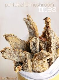 These Portobello Fries are baked to a golden crisp, but are so tender and delicious. They're a must try appetizer | SixSistersStuff.com