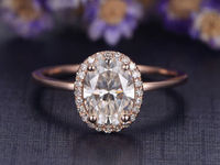 6x8mm Oval Cut Moissanite Engagement Ring Diamond Wedding ring Solid 14K Rose Gold Diamond ring promise ring custom made fine jewelry $849.00