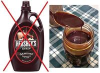 I don't know about you, but we go through a LOT of chocolate syrup in this house. Mainly we use it in milk shakes, which seem to be a nightly ritual at our hous