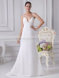 MITZEE - DEEP V CUT ELEGANT CHIFFON WEDDING DRESS