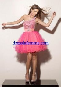 Short Pink Sparkly Top Party Dress With One Shoulder