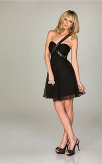 Night Moves A474 Black Allure One-shoulder Prom Dress 2013