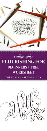 If you're ready to add some flourishing to your calligraphy, this blog post will get you started with basic information and a free worksheet!