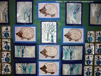 A beautiful winter art bulletin board filed with unique winter art lessons. This blog is becoming my new favorite!