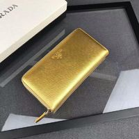 Prada 1M0506 Lettering Saffiano Leather Wallet In Gold