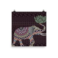 Reiki Charged Elephant Tapestry Poster Burgundy Indian With Lotus Flower $15.00
