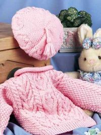 Free Pattern: Sweetheart Sweater Set #free #knitting #pattern #baby #sweater #cables #hearts #girls
