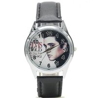 ELVIS on a Womens or Mens Round Watch with Leather Band $25.99
