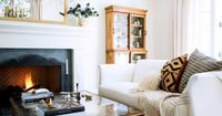simple, neutral living room w/ white couch
