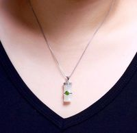White Hetian Jade Bamboo Necklace / Bamboo Jade Necklace Pendant / 925 Silver Necklace / Charm Necklaces / Inlaid Jade Jewelry Ask a question