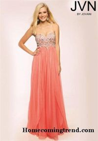 Coral Long Empire Beaded Prom Dresses by JVN 98616