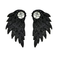 BLACK ANTIQUE SILVER COLOR WITH RHINESTONE WING STUD EARRING