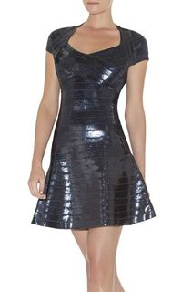 Herve Leger Rasha Sequined A Line Dress
