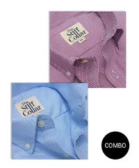 Burgundy Blue Houndstooth 2 Ply Premium Cotton Regular Fit Button Down Shirt Combo �'�2999.00
