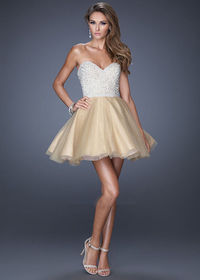 Beaded Nude A Line Strapless Rhinestone Short Party Dress