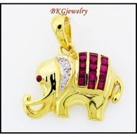 Diamond Eternity Ruby Elephant Pendant 18K Yellow Gold [P0008]