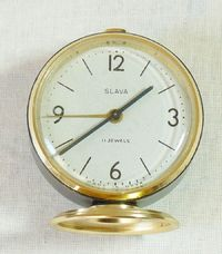 Vintage Russian Soviet USSR Slava Alarm Clock 11 Jewels Serviced Good Working. $16.00