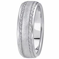 14K White Gold 6 millimeters wide Wedding anniversary Band gift for him $592.00