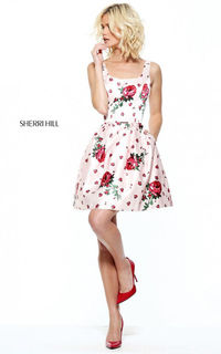 2017 50989 Floral Print Short A Line Cocktail Dress by Sherri Hill