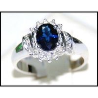 Solitaire Diamond Eternity 18K White Gold Blue Sapphire Ring [RS0048]