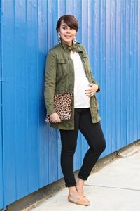 Maternity lace, utility jacket, leopard clutch.