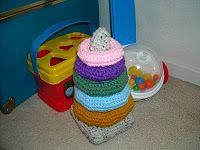 "A Crafty Cook: Crochet Baby Ring Stacking Toy �€"" Part 1, The Rings"