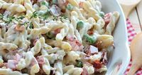 Lighter Pasta Salad with Bacon Peas Bell Peppers