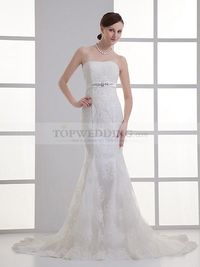 BILLIE - STRAPLESS LACE OVER SATIN MERMAID GOWN WITH EMBELLISHED SASH