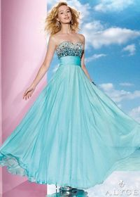 Long Blue Alyce B'Dazzle 35602 Hand Beaded Evening Gown