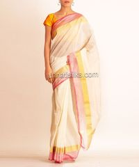 online shopping for cream kerala cotton sarees are available at www.unnatisilks.com