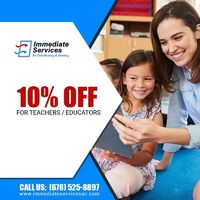 Immediate Services Air Conditioning and Heating is providing 10% off on services for Teachers.Contact us 678-525-8897 to grab the deal.