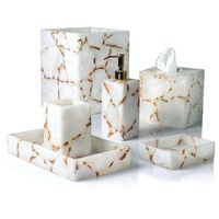 Taj Milk Quartz & Gold Bath Accessories by Mike + Ally $500.00