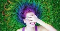 Rainbow Hair (red, orange, yellow, green, turquoise, blue, indigo, violet, purple)