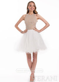 Unique Trendy High Neck Beaded Bodice Ivory Nude Homecoming Dress