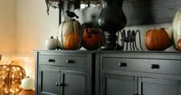 Halloween Dining Room Buffet - Console Decor {my faux 'mantle' decorations} - bystephanielynn