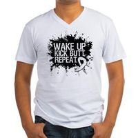 Lung Cancer Shirts: Wake Up. Kick Butt. Repeat motivational slogan for cancer fighters on shirts and gifts with a cool grunge design by HopeDreamsDesigns.com