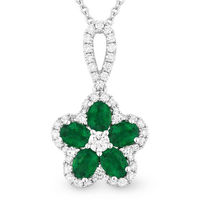 1.07ct Oval Cut Emerald & Round Diamond Pave Flower Pendant in 18k White Gold w/ 14k Chain Necklace